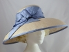  Cream and Blue Ascot Hat